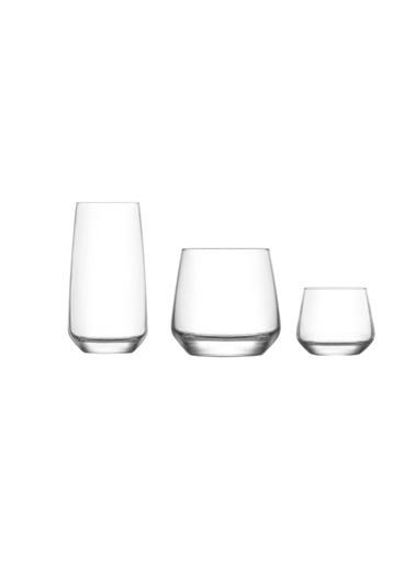 Lav Lal 18 Prç. Su Takımı Seti- Su Meşrubat Bardağı Takımı Renkli